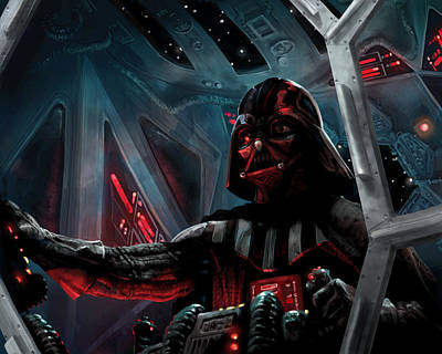 Digital Art - Darth Vader, Imperial Ace by Ryan Barger