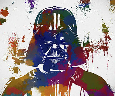 Painting - Darth Vader Paint Splatter by Dan Sproul