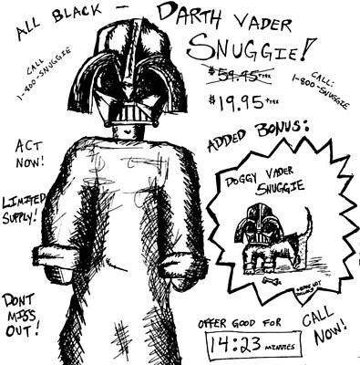 Puppy Drawing - Darth Vader Snuggie Bw by Jera Sky