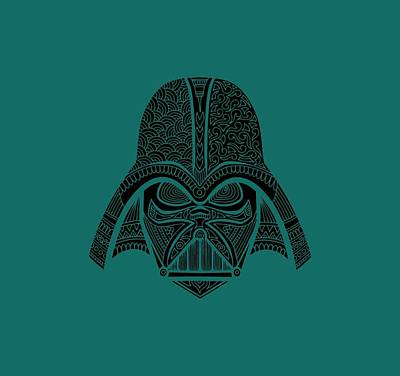 Mixed Media - Darth Vader - Star Wars Art - Blue Black by Studio Grafiikka