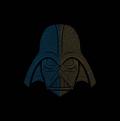 Mixed Media - Darth Vader - Star Wars Art - Blue Brown by Studio Grafiikka