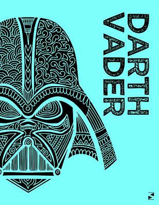 Scifi Mixed Media - Darth Vader - Star Wars Art - Blue by Studio Grafiikka