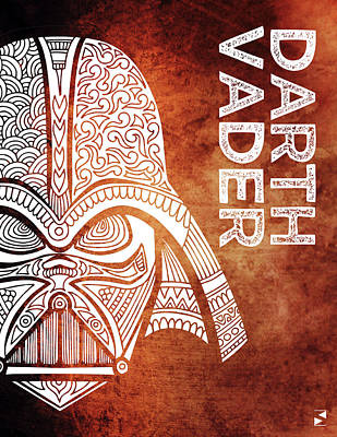 Scifi Mixed Media - Darth Vader - Star Wars Art - Brown And White by Studio Grafiikka