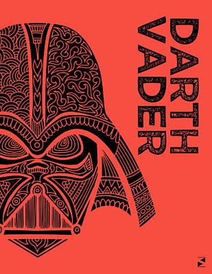 Scifi Mixed Media - Darth Vader - Star Wars Art - Red by Studio Grafiikka