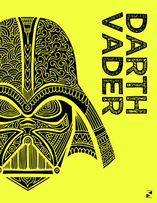Royalty-Free and Rights-Managed Images - Darth Vader - Star Wars Art - Yellow by Studio Grafiikka