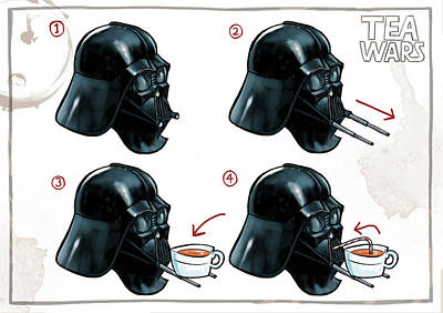 Digital Art - Darth Vader Tea Drinking Star Wars by Martin Davey