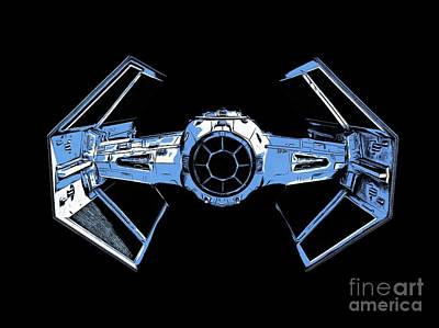 Science Fiction Royalty-Free and Rights-Managed Images - Darth Vaders TIE Figher Advanced X1 tee by Edward Fielding