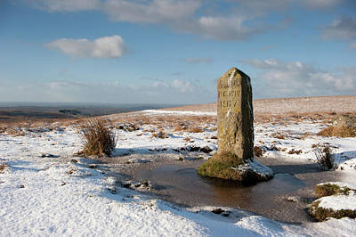 Photograph - Dartmoor Boundary Stone In The Snow by Helen Northcott