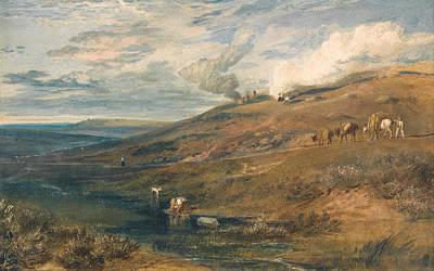 Riverside Painting - Dartmoor, The Source Of The Tamar And The Torridge by JMW Turner