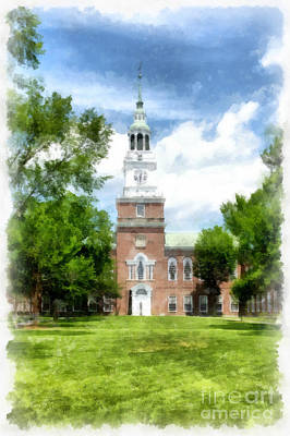 Library Painting - Dartmouth College Watercolor by Edward Fielding