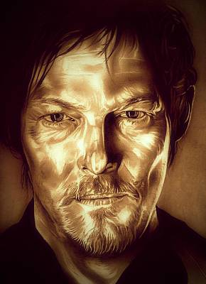 Grime Drawing - Daryl Dixon by Fred Larucci