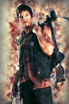 Walking Dead Digital Art - Daryl Dixon by Taylan Apukovska