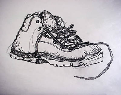Hiking Drawing - Das Boot by Ross Powell