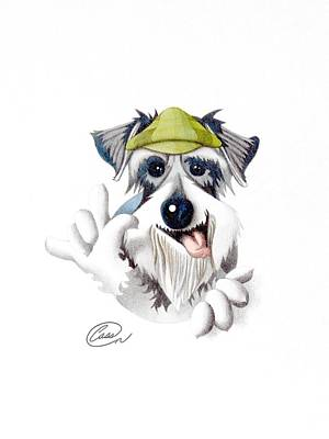 Schnauzer Drawing - Das Is Cool by Albert Casson
