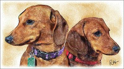 Painting - Daschund Sisters by Richard Heath