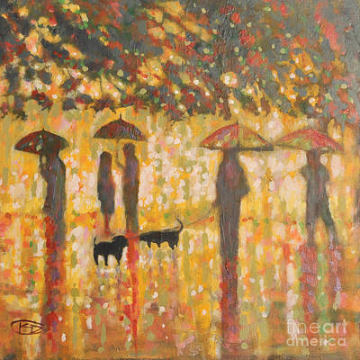 Daschunds In The Rain Art Print by Kip Decker