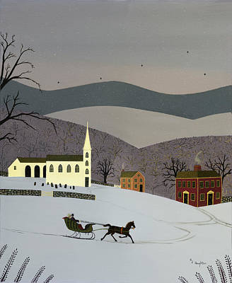 New England Snow Scene Painting - Dashing Off by RJ Houghton