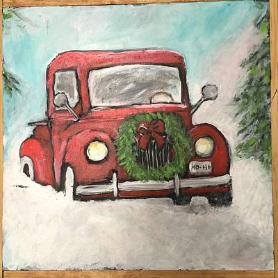 Red Painting - Dashing Through The Snow by Kathy Blackburn