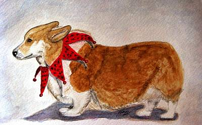 Herding Dog Painting - Dashing Through The Snow Surely You Jest by Angela Davies