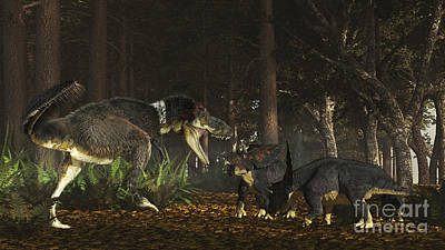 Animals Digital Art - Daspletosaurus Confronts A Family by Arthur Dorety