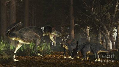 Daspletosaurus Confronts A Family Art Print