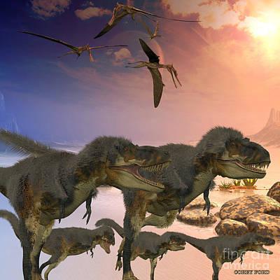Prehistoric Digital Art - Daspletosaurus Dinosaurs by Corey Ford