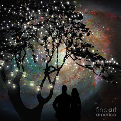 Date Night, Trees, Stars, String Of Lights, Galaxy, Dating Couple Art Print by Tina Lavoie
