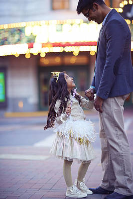 Daughter Smiling At Her Father On Urban Art Print