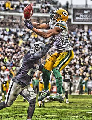 Mixed Media - Davante Adams Green Bay Packers 1 by Joe Hamilton