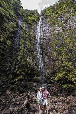 Dave And Elaine At Waimoku Falls Art Print