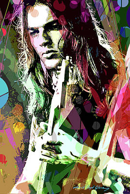 Musicians Paintings - Dave Gilmour Dark Side by David Lloyd Glover