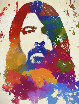 Music Paintings - Dave Grohl Watercolor Portrait by Dan Sproul
