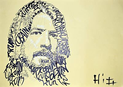 Dave Drawing - Dave Grohl Word Portrait With The Word Kurt Cobain by Jacob  Hitt