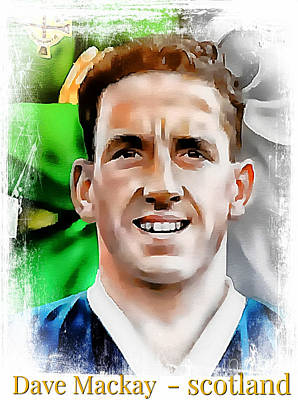 Digital Art -  Dave Mackay Football Legend by Ian Gledhill