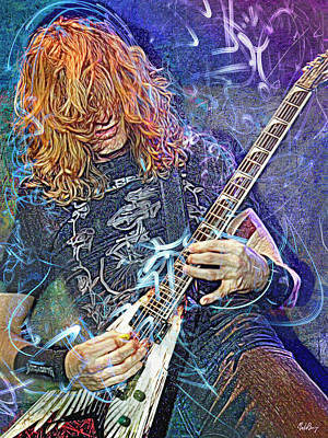 Mixed Media Royalty Free Images - Dave Mustaine, Megadeth Royalty-Free Image by Mal Bray