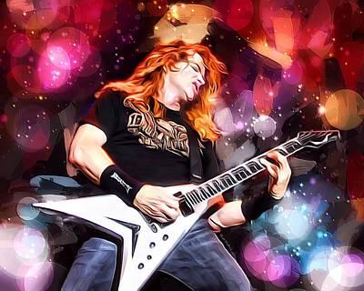 Lead Singer Digital Art - Dave Mustaine Portrait by Scott Wallace