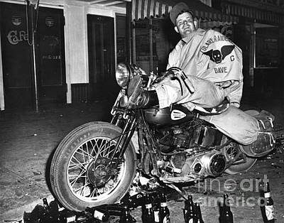 Photograph - Dave On A Harley Tulare Raiders Mc Hollister Calif. July 4 1947 by California Views Mr Pat Hathaway Archives
