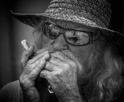 Harmonica Photograph - Dave Plays Harp by Kirk Cypel