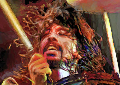 Musicians Mixed Media Royalty Free Images - Dave Grohl, musician Royalty-Free Image by Mal Bray