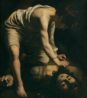 David And Goliath Art Print by Caravaggio
