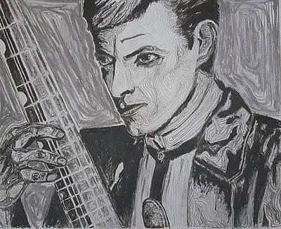 Musicians Drawings - David Bowie by Adekunle Ogunade