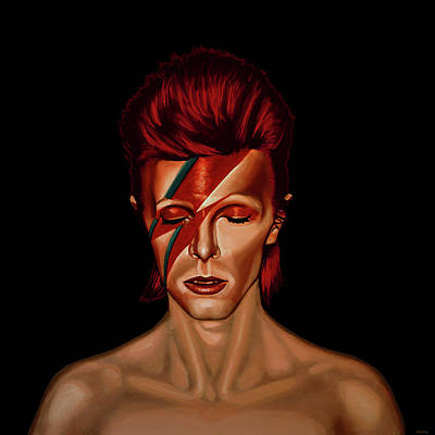 Painting - David Bowie Aladdin Sane Mixed Media by Paul Meijering