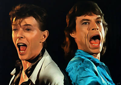 Mick Jagger Poster Painting - David Bowie And Mick Jagger by Sergey Lukashin