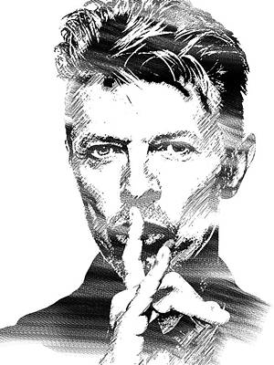 Singer Drawing - David Bowie Bw by Mihaela Pater