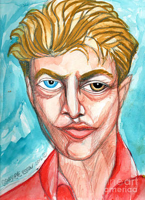 David Bowie In Red Shirt Art Print by Genevieve Esson