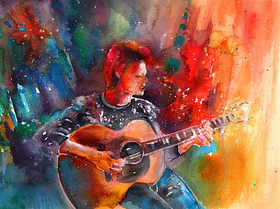 Art Miki Painting - David Bowie In Space Oddity by Miki De Goodaboom