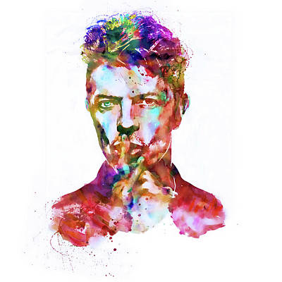 White Background Mixed Media - David Bowie  by Marian Voicu