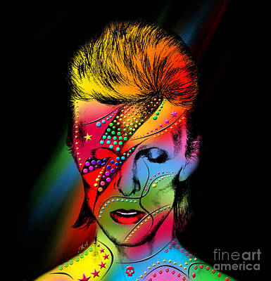 Digital Face Painting - David Bowie by Mark Ashkenazi