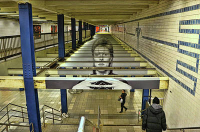 Photograph - David Bowie N Y C Subway Tribute by Allen Beatty