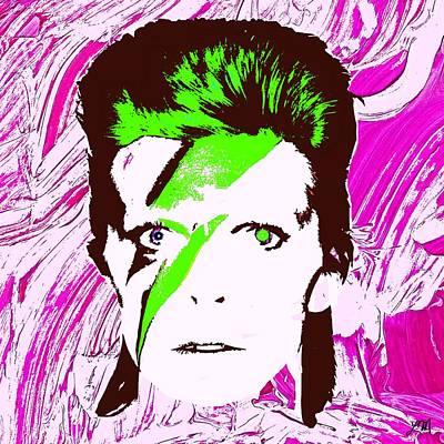 Celebrities Digital Art - David Bowie Panel One by Linda Mears